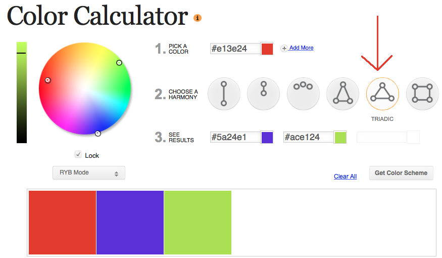 Triadic Color Scheme from Sessions College Color Calculator